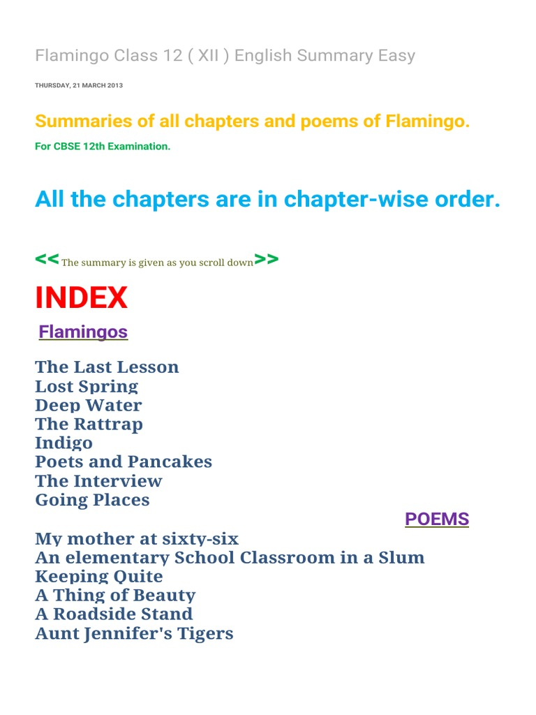 flamingo class xii english summary easy fear
