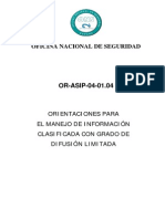 Or-ASIP-04-01.04 Orientaciones Para El Manejo de Informacion Clasificada Con Grado de DIFUSION LIMITADA