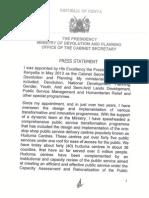 Press Statement 21st November 2015
