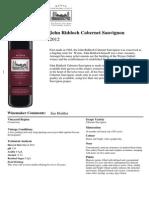 Wynns John Riddoch Cabernet Sauvignon 2012