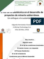 Edgardo Hernández Rol de La Geotenica en La Mineria Seminario UNAB