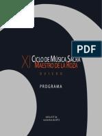 Ciclo música sacra. Libreto 2015