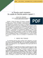 El Derecho Penal Economico. Un Estudio de Derecho Positivo Español.