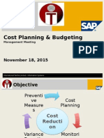 Planning & Budgeting using SAP Cost Center Planning