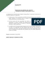 Comunicado de prensa de la defensa del Contralmirante Gabriel Arango Bacci