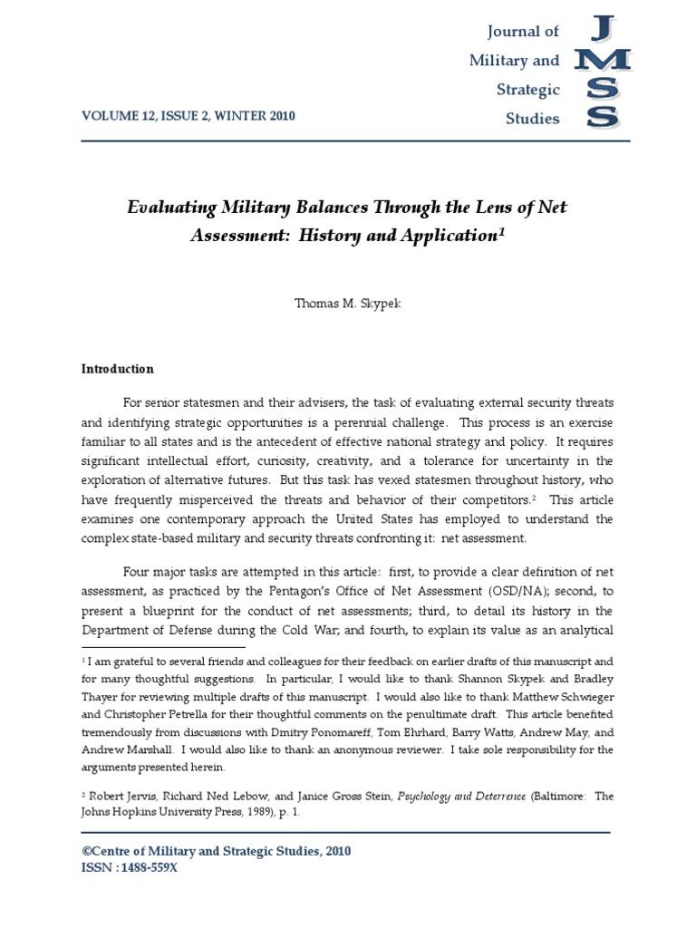 net assessment definition
