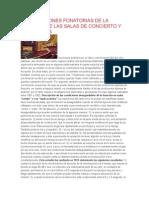 Repercusiones Fonatorias de La Acústica de Las Salas de Concierto y Escenarios