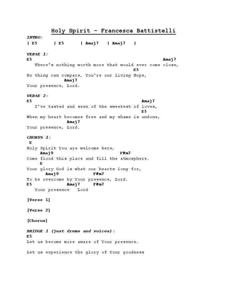 Holy Spirit Francesca Battistelli Chord Sheet   PDF   Song ...