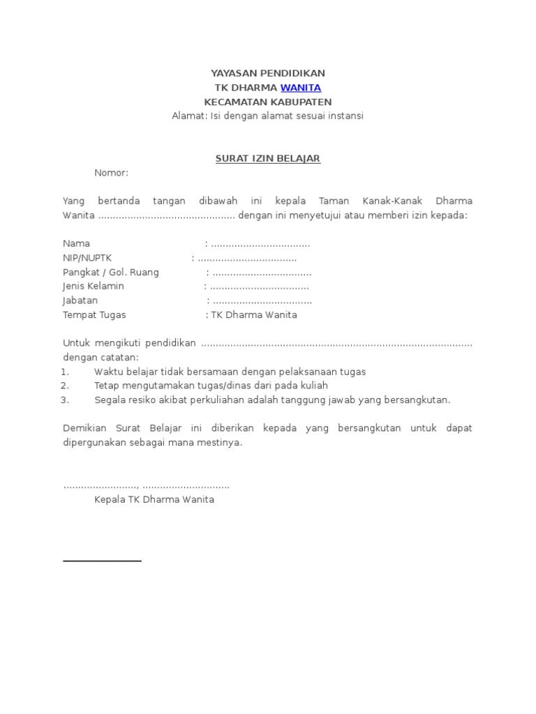Contoh Surat Izin Belajar Yayasan
