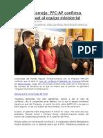 Gabinete Cornejo PPC-AP Confirma Que Dará Aval Al Equipo Ministerial