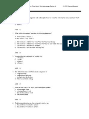 Chapter13Q rtf | C (Programming Language) | Java