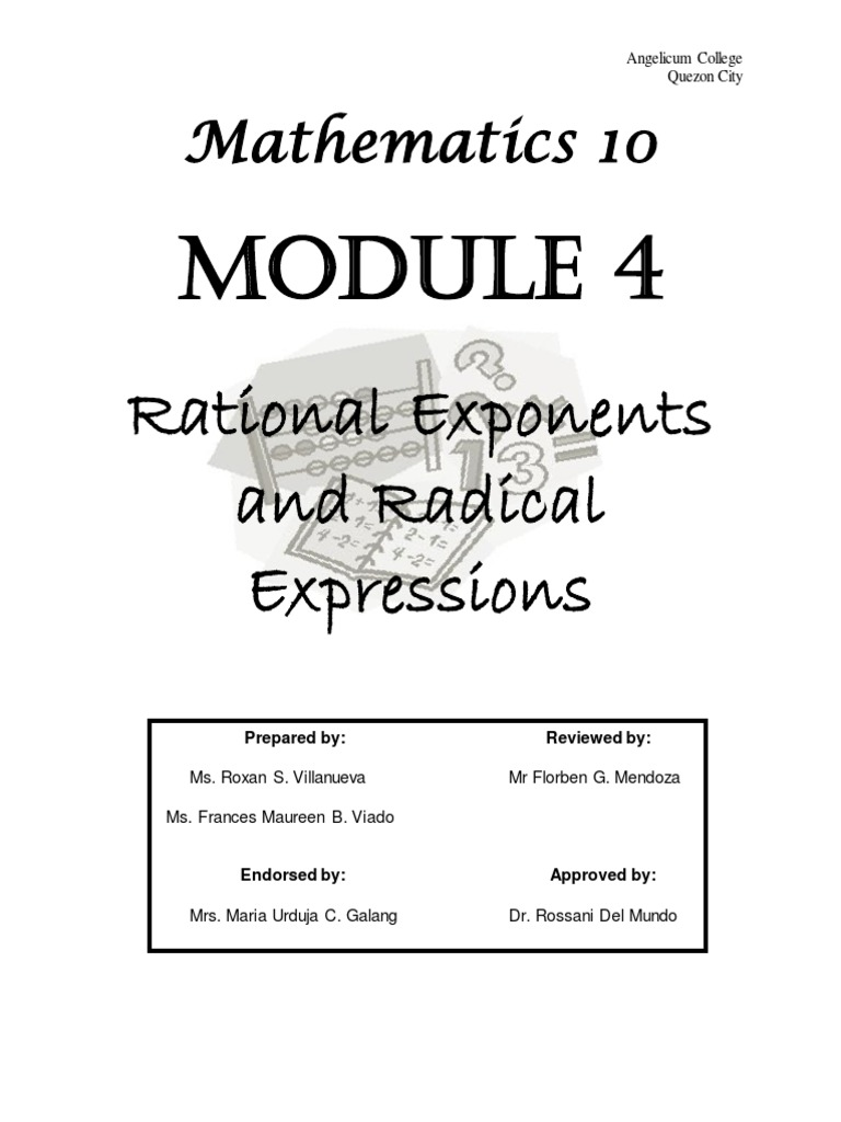MATH 10 Module 4 (Rational Exponents and Radical