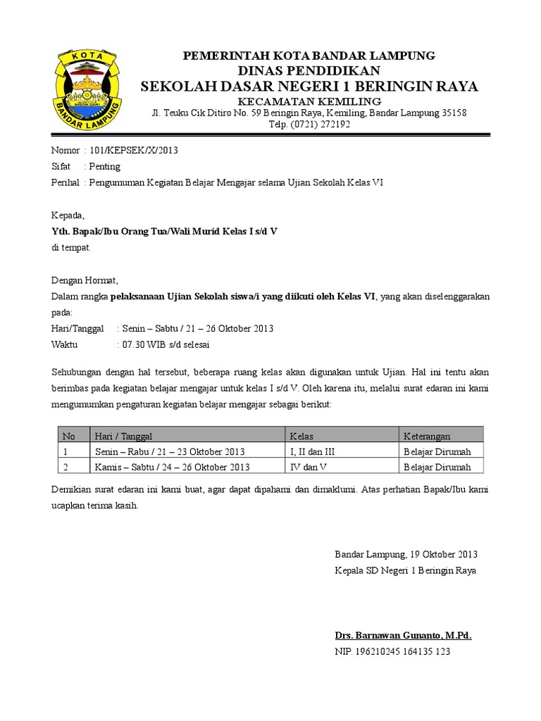 Contoh surat edaran sekolah pengumuman libur karena ujian sekolah stopboris Gallery