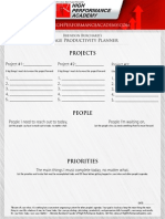 High Performance Academy 1 Page productivity planner