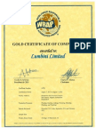 2015-08-07 WRAP Certificate 14781 (Gold) Lumbini Limited