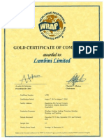 2015-08-07 WRAP Certificate 14781 (Gold) Lumbini Limited