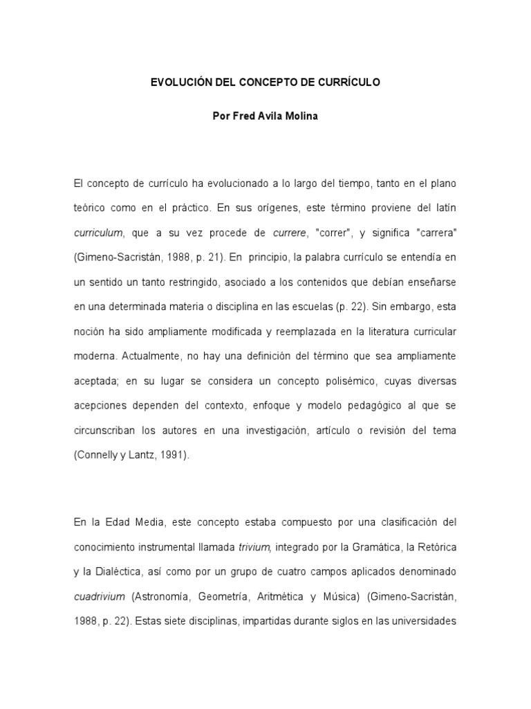 EVOLUCION DEL CONCEPTO DE CURRICULO