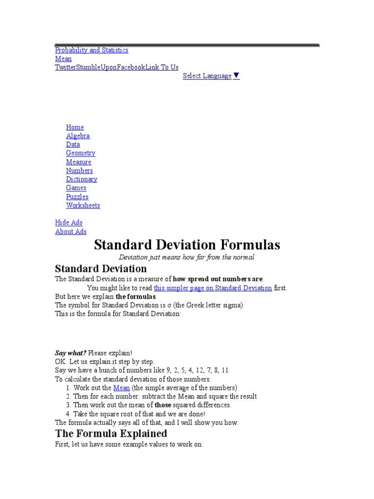 Standard Deviation Standard Deviation Mean