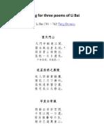 Song of three poems of Li Bai