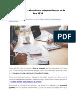 Cotización de trabajadores Independientes en la Ley 1753