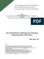 Une Interprétation Quantique des Processus Organisationnels d'Innovation