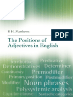 The Positions of ADJECTIVES
