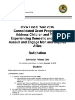OVW Fiscal Year 2016 Consolidated Grant Program to Address Children and Youth Experiencing Domestic and Sexual Assault and Engage Men and Boys as Allies Solicitation