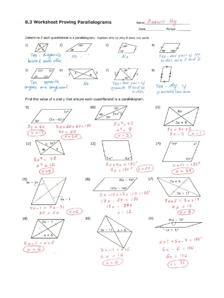 Practice 83 Answer Key – Parallelogram Worksheets