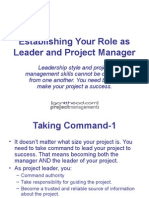Establishing Your Role as Leader and PM