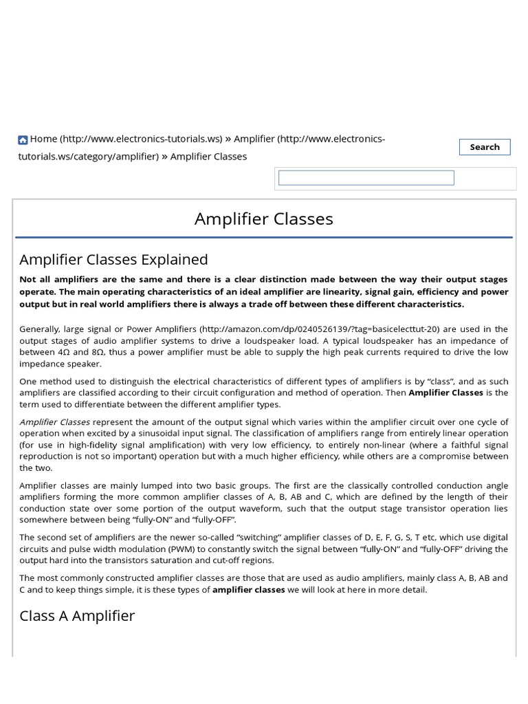 Amplifier Classes And The Classification Of Amplifierspdf Class A Audio Circuit Distortion