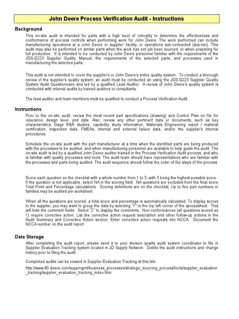 Process Verification Audit Checklist (2) | Verification And ...