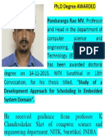 Dr Panduranga Rao MV Awarded PhD Computer Science from NITK Surathkal INDIA, in 13th Convocation.