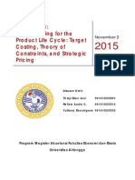 Resume Chapter 13 Blocher - Jurnal 8.1 Target Costing - Jurnal 8.2 Strategic Pricing