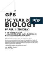 ISC 2013 Biology Theory Paper 1 Solved Paper