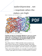 Leadership Review - How to Negotiate When the Stakes Are High
