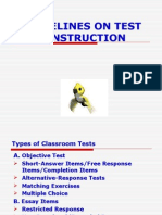 Criteria on Test Construction