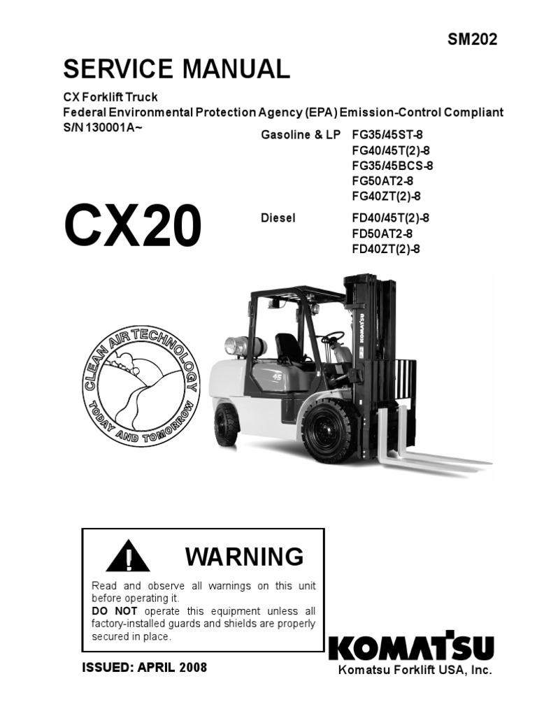 servicio komatsu cx20 transmission mechanics axle rh scribd com Nissan Fork Lift Used KOMATSU Forklifts