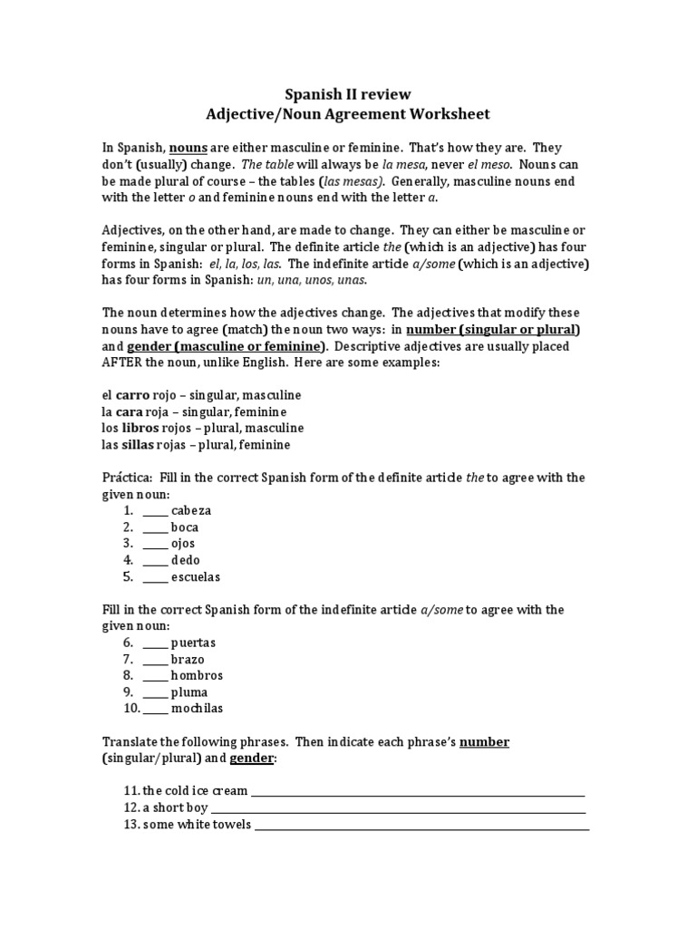 Spanish Noun Adjective Agreement Worksheet | Compromise Agreements
