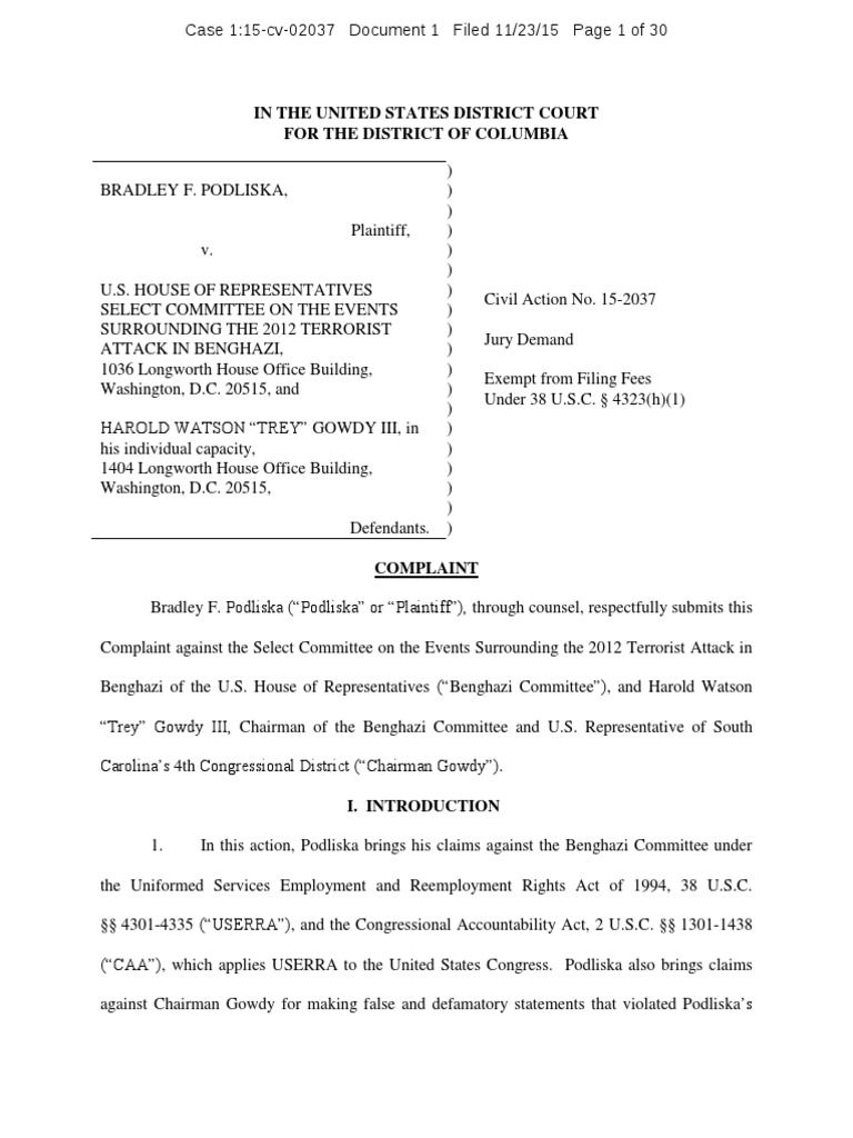 Podliska V Select Committee And Trey Gowdy Defamation Classified Second Circuit Washlaw Web Information