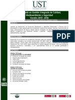 Diplomado en Gestión Integrada de Calidad Medioambiente y Seguridad 2015-2016