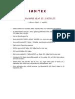 Inditex 1Half 2015 Results