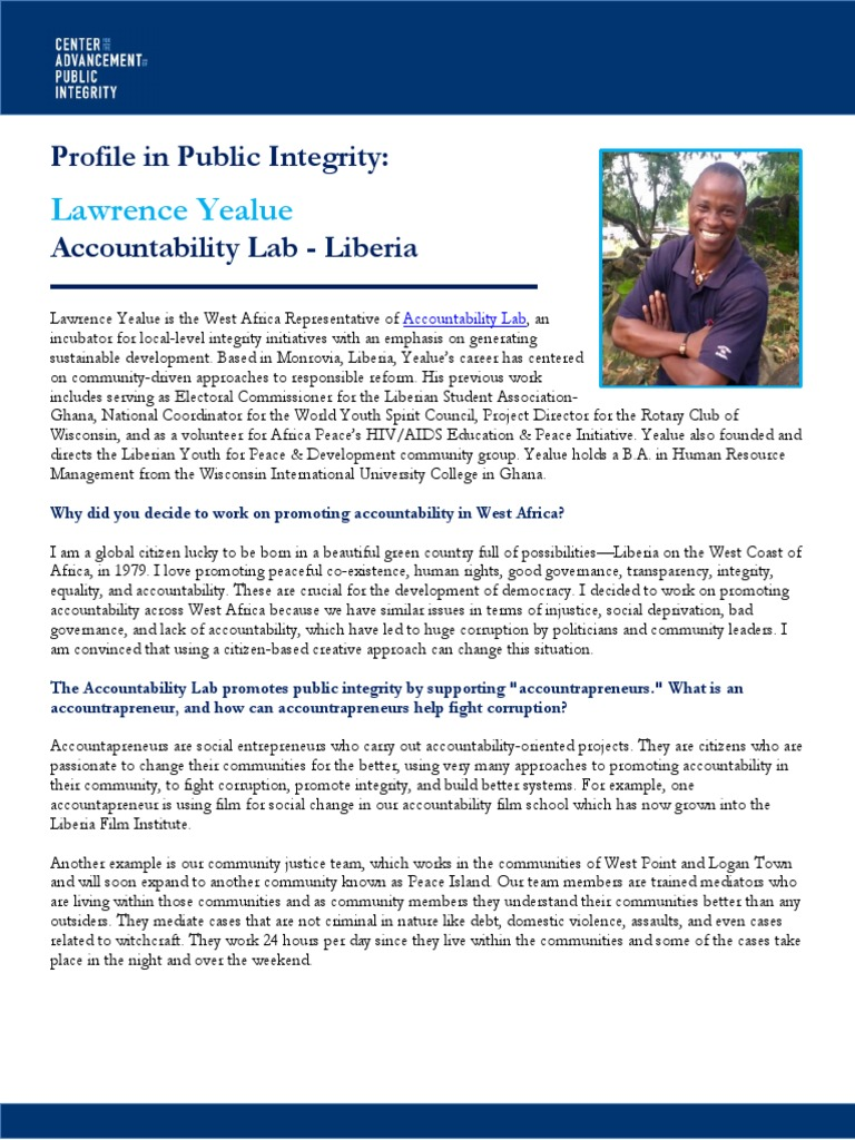 Profiles in public integrity lawrence yealue liberia accountability