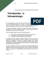 Introduccion a La Hidrometalurgia