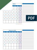 Calendario Mensual 2016