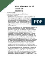 La Presencia Alemana en El Romanticismo de Hispanoamérica