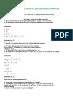 Ejercicios de Expresiones Algebraicas