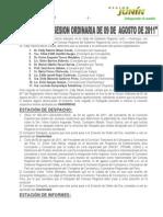 Acta N° 029 de Sesión Ordinaria 09 de agosto de 2011