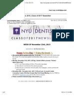 Week of November 23rd, 2015 | Class of 2017 Newsletter
