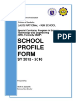 School Profile Form for SPSTE Implementing Schools SY 2015-2016