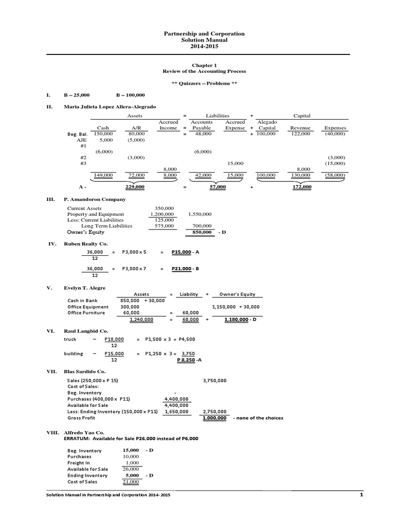 Solution Manual - Partnership & Corporation, 2014-2015.pdf | Balance Sheet  | Debits And Credits